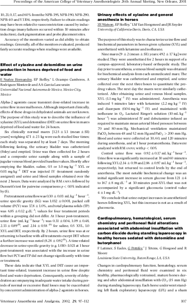 Effect of xylazine and detomidine on urine production in horses ...