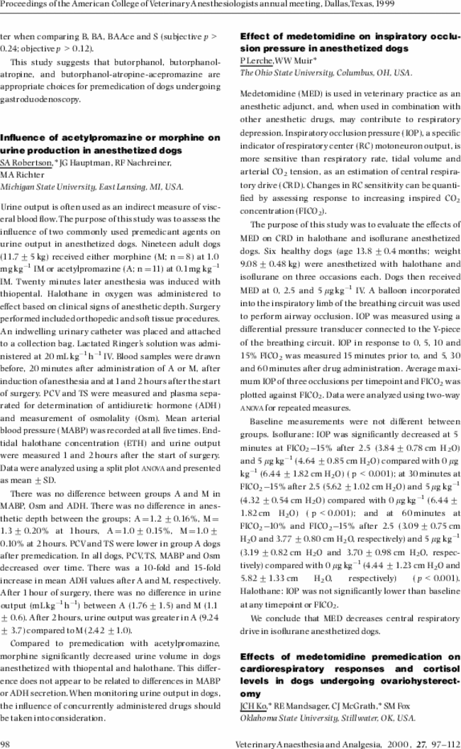 Influence Of Acetylpromazine Or Morphine On Urine Production In
